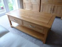 coffee table solid wood two draws open and close both ways.