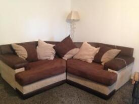 Brown and beige corner sofa