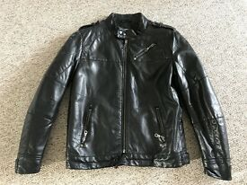 Boys Leather look Black Biker Jacket Size Age 11 years