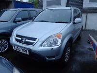 2002 02 reg honda crv i vtec se sport mot 1 year good we 4x4 £1395