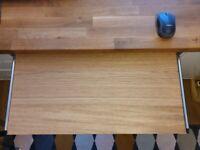 Under Desk Keyboard Tray Shelf - Oak Finish Height Adjustable