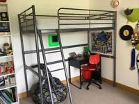Bunk bed including single mattress