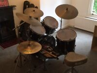 Drum kit with all the gear - 4 drums , cymbals , stands, sticks and stools - ideal for new starter