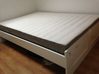 IKEA BRIMNES White standard double bed with slatted base
