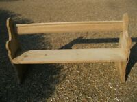 1.53m STRIPPED PINE OLD CHURCH PEW / BENCH. Other pews , chapel chairs & table also for sale.