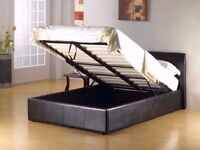 SAME DAY DELIVERY DOUBLE LEATHER STORAGE OTTOMAN GAS LIFT BED -SINGLE,DOUBLE AND KINGSIZE AVAILABLE