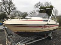Power boat on trailer with 90hp