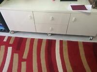 Ikea white TV trolley with wheels