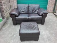 Natuzzi Italian leather 2 seater sofa settee with stool very good cond / free delivery