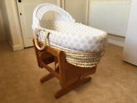 Mothercare Moses basket and gliding stand