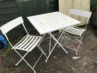 Folding metal patio set