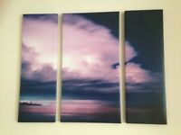 two purple lapm shades and set of 3 pics