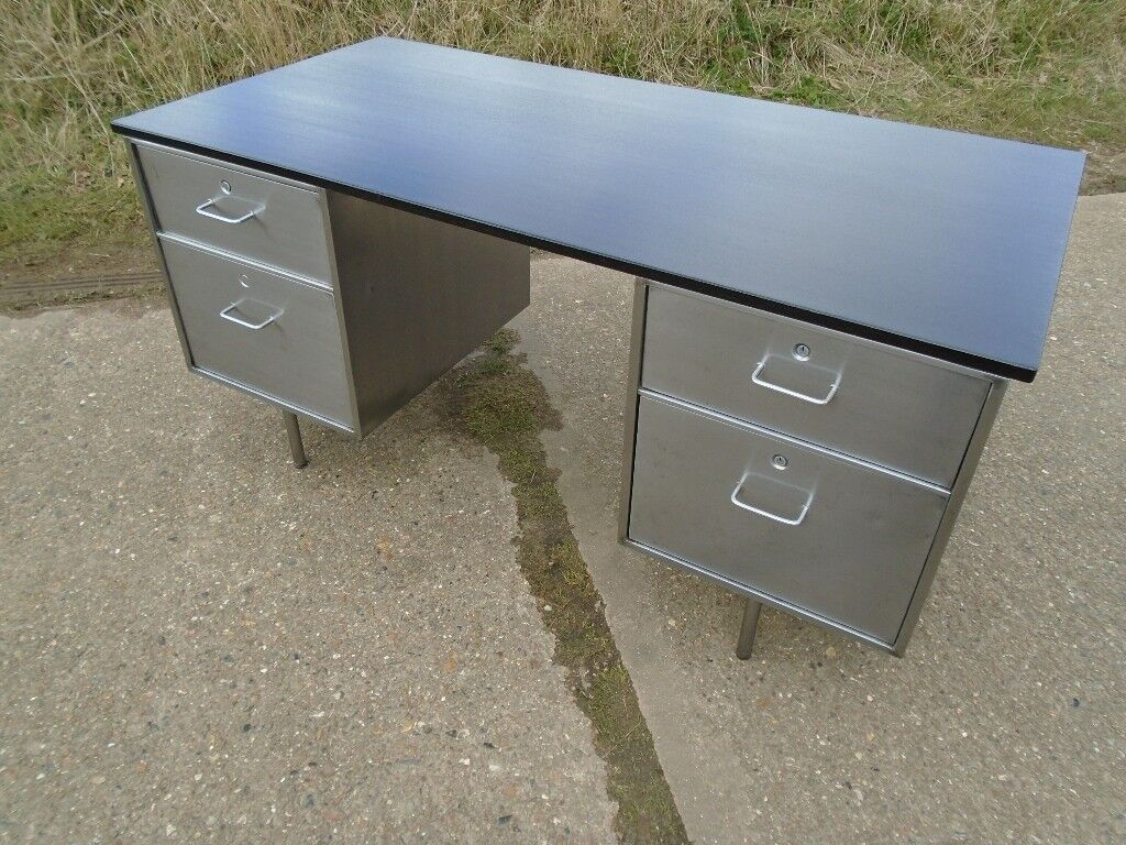 Vintage 1974 Roneo Metal Desk Stripped Polished Great Looking Piece Delivery Can Be Arranged