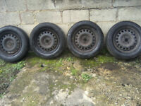 TYRES 185 X 65 X 15 ON VAUXHALL RIMS. ALL 4 WITH MATCHING TREAD, EXCELLENT TREADS.