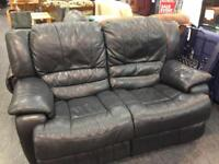 Double leather recliner sofa