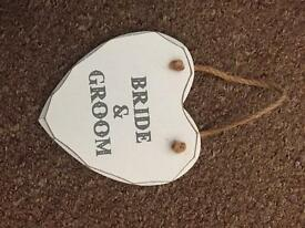 Bride and groom sign