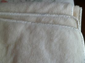 Cream Merino Wool Double Blanket,204x209cm Aprox.Been Professionally cleaned.