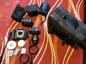 Nikon D90 Camera, lenses, SD cards and case