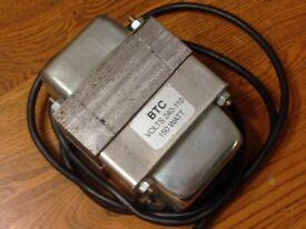 Electrical Transformer BTC Volts 240-110 150 WATT