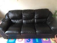 Large 3 Seater Leather Sofa, Black