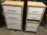 Chest of draws and 2 bed side tables