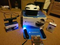 PlayStation VR headset with camera, move controllers and game.