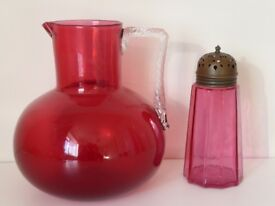 Cranberry glass jug and sifter