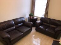 2 Brown real leather Sofa Couch (large and small)
