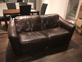 Brown Leather John Lewis Sofa / Couch