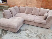 Lovely 1 month old beige cord corner sofa.as new. clean and tidy. can deliver