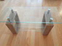 Three piece glass coffee table