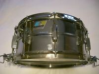 """Ludwig 411 seamless alloy Supersensitive snare drum 14 x 6 1/2"""" - Blue/Olive, Chicago - '78/'79"""