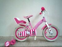 """(2038) 14"""" HELLO KITTY Girls Kids Childs Bike Bicycle+STABILISERS Age: 3-5 Height: 95-110cm"""