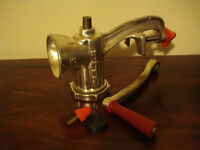 New unused cast iron mincer, for hand cranking