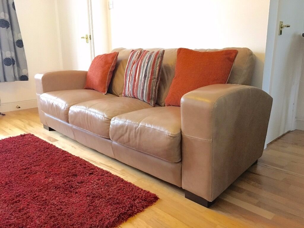 Leather Sofa 3 Seater Foot Stool Cushions Sand Light Brown Dfs