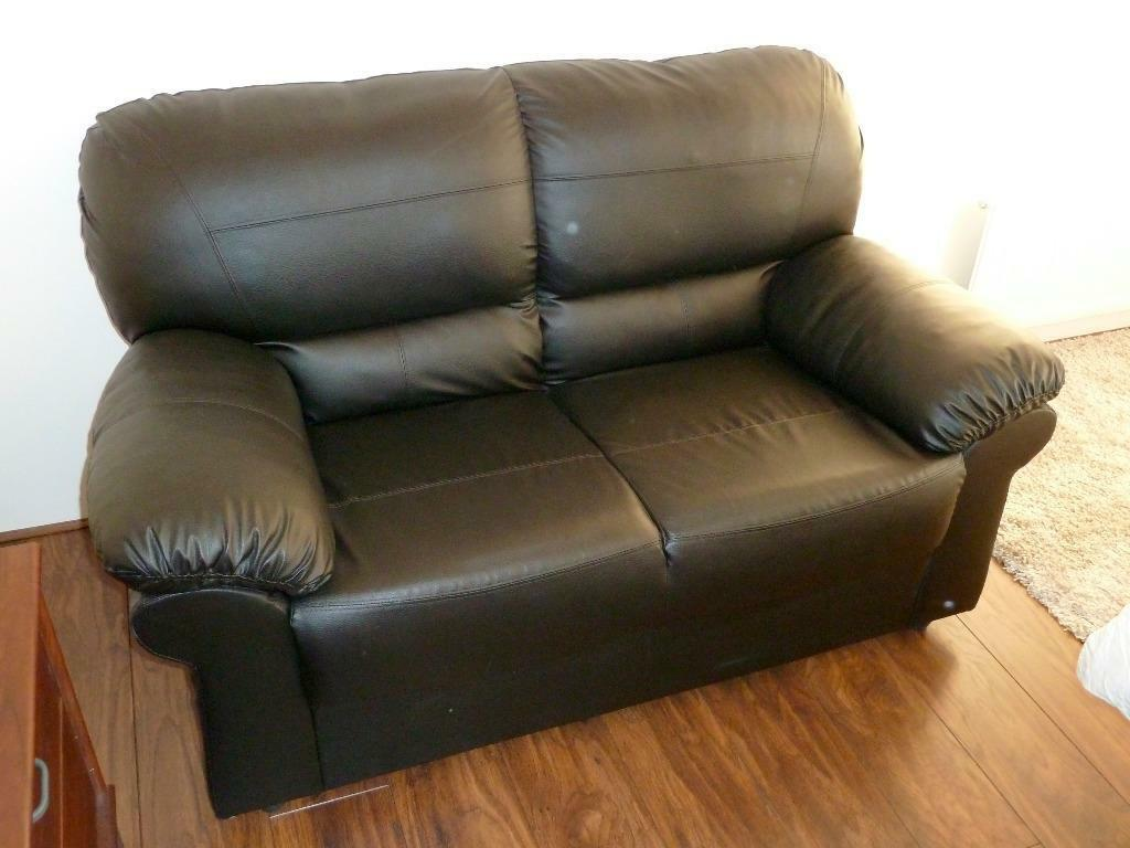 Hardly Used 2 Seat Black Leather Sofa For Quick Sale In