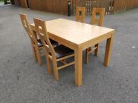 Light Oak Veneer Dining Table 160cm & 4 High Back Solid Oak Chairs FREE DELIVERY W1055