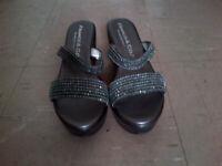 Platinum Grey Beaded Wedged Heels