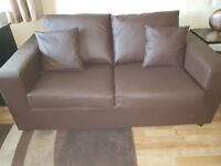 ALICANTE FAUX LEATHER 3 SEATER METAL ACTION SOFABED