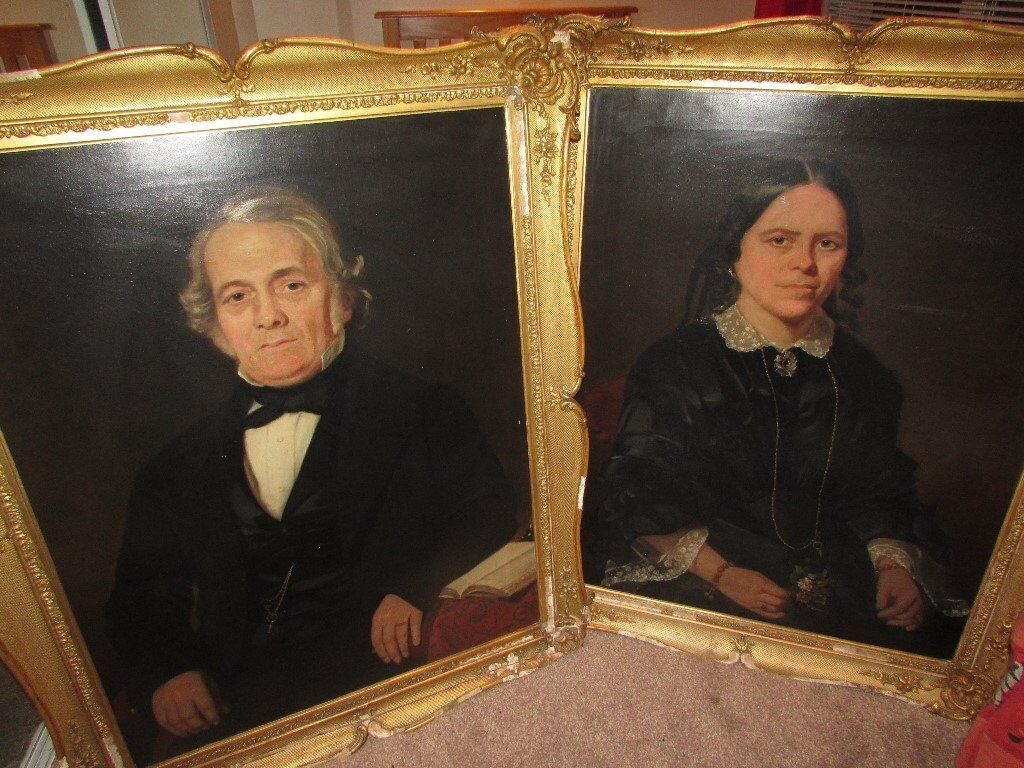 Original Oil Painting Portraits Great Detail Husband And Wife Frames