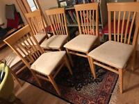 6 (could sell 4 or 2) solid beech dining chairs