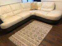 Corner Sofa in white leather, 3 sections
