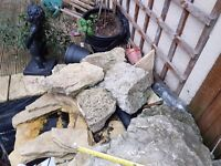 Garden landscaping or pond feature rocks