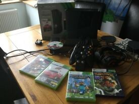 Xbox 360 slim 250gb black console, Kinect and 6 games