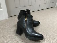 Dune BLACK black leather ankle boots