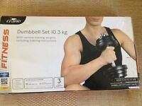 Dumbbells and grip gloves. Brand new. 10.3kg