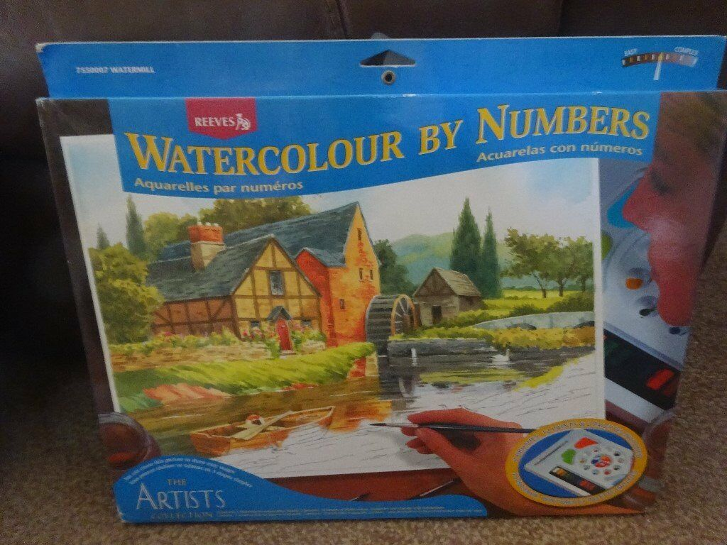 New Reeves The Artist Collection Watercolour by Numbers contains Watermill art and craft xmas gift