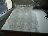 punch bowl with 12 glass cups