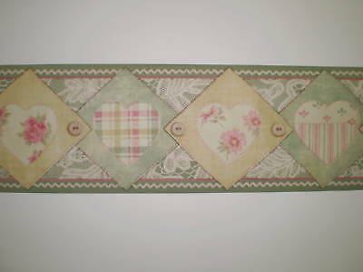 - Multi-Color Patchwork of Country Hearts Border in Green by SA Maxwell 7055-031B