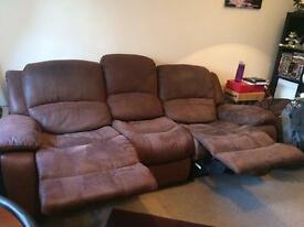 3 seater Suede Brown Recliner sofa